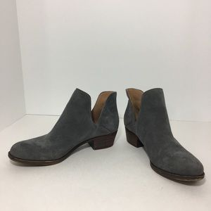 Lucky Brand Birtie2 Gray suede cutout booties 6